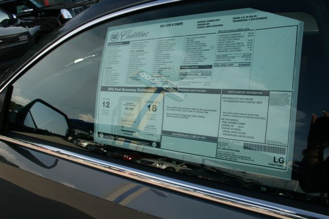 Window Sticker On The New 2011 Cadillac Ctsv Coupe Flickr