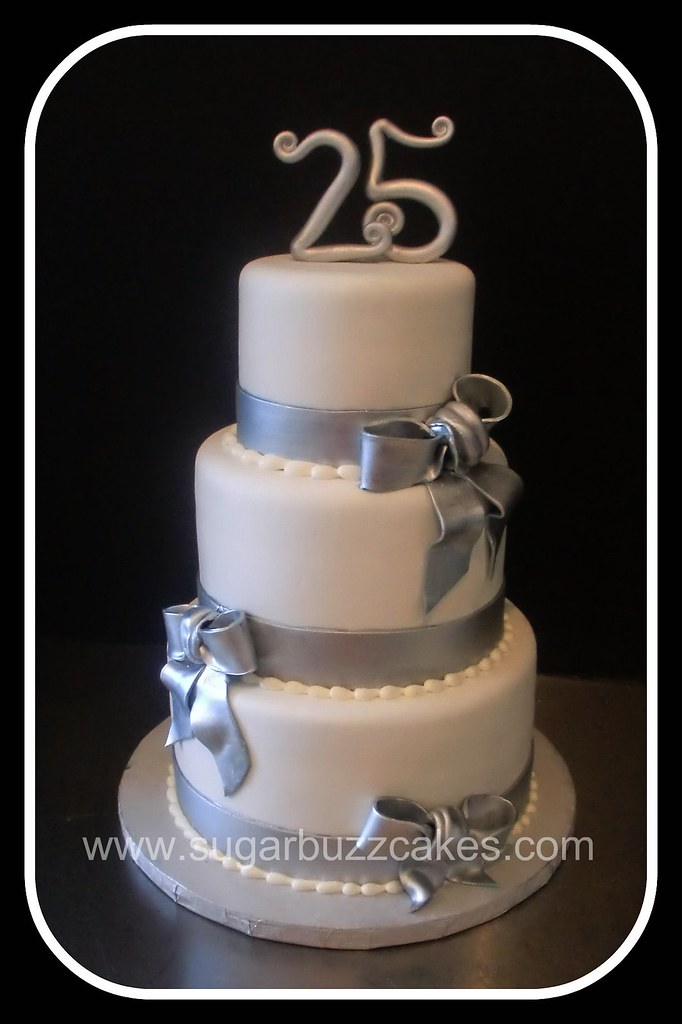 cakes for 25th wedding anniversary silver amp white 25th anniversary cake carol flickr 2367