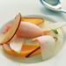 pink grapefuit sorbet, panna cotta, peaches