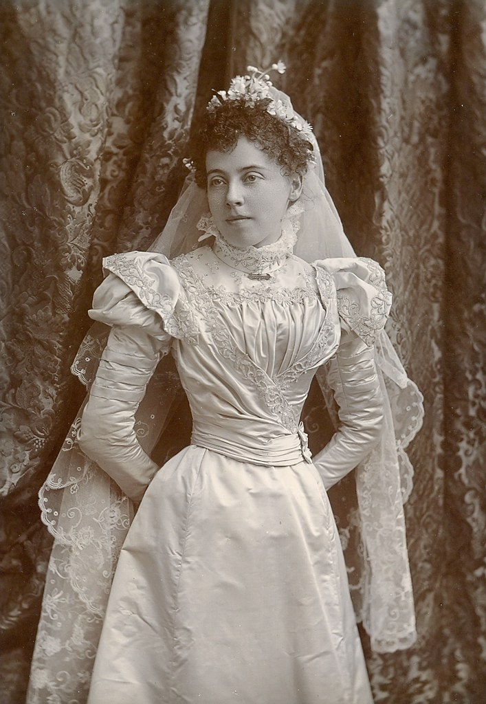 Young Lady Poses In Her Wedding Dress Circa 1885