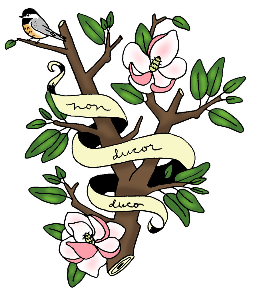 Kat 39 s tat magnolia tree rough color sketch ideas for a for Non ducor duco tattoos designs