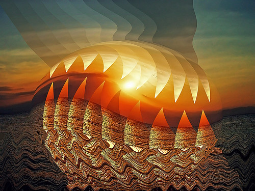 golden sunset no. 14 - the sun in monster jaws | by simpletricks