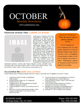 october newsletter template you can download this free