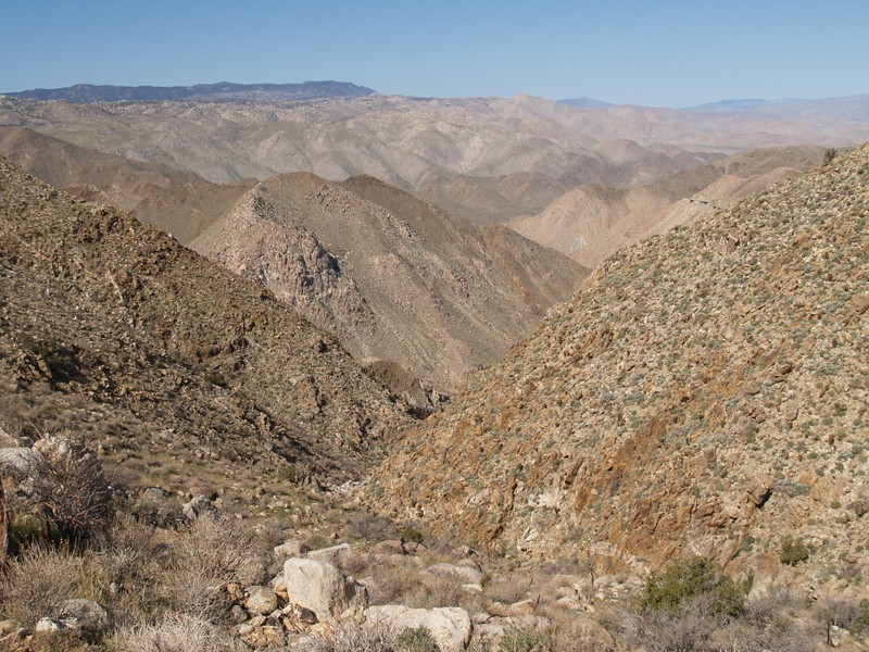The view down Goat Canyon. That dark spot, center, is an upper section of the big trestle.
