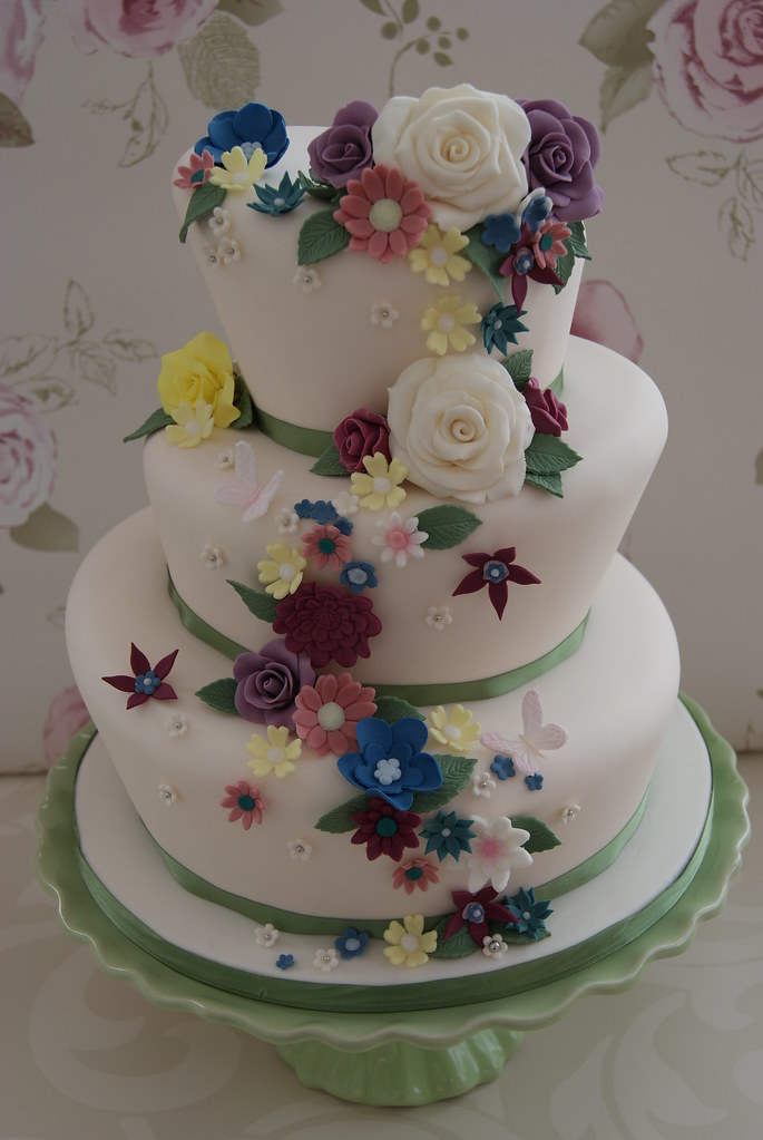 Wedding Cake Ideas For Summer Wedding : Wonky Summer Flower Wedding Cake A wonky three tiered ...