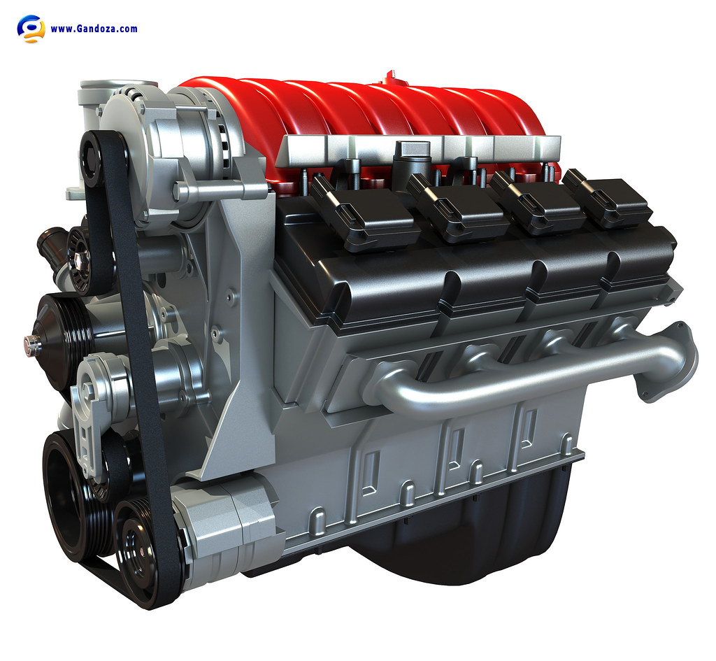 Model Car With Engine: 3d Model Of Car Engine.