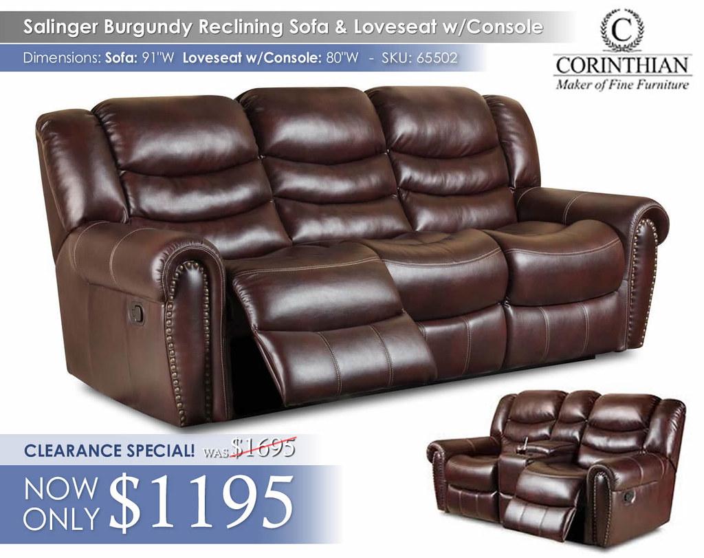 65502 Salinger Burgundy Reclining Sofa & Love Seat_2017