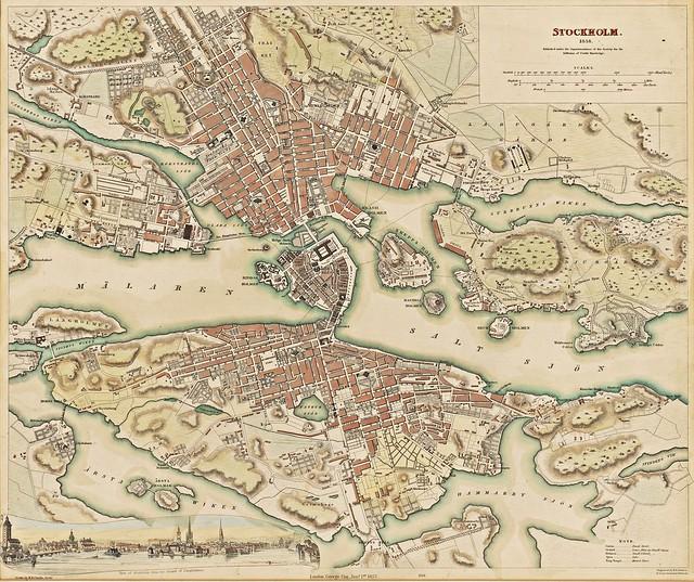 William Barnard Clarke - Stockholm 1838. Kartan ingick i en serie europeiska stadskartor, publicerade av Society for the Diffusion of Useful Knowledge