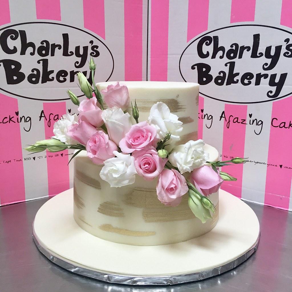 2-tier Wedding Cake iced in white chocolate ganache with g… | Flickr