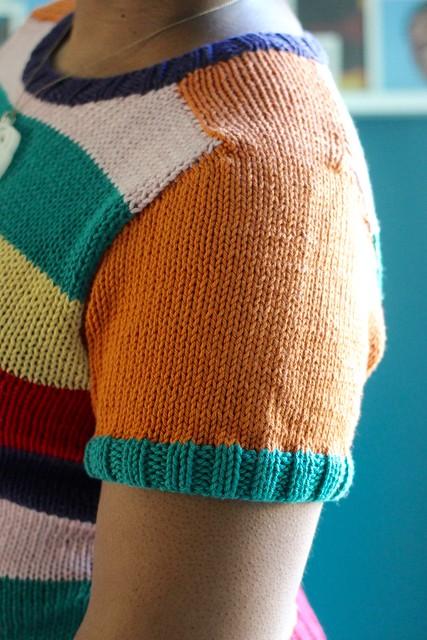 Striped saddle shoulder sweater