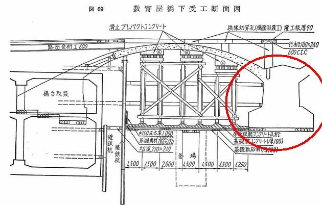 銀座駅の階段がずれているのは数寄屋橋の橋脚がそこに埋まっているから (11)