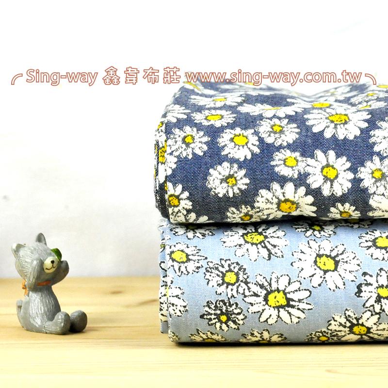 小白花 瑪格麗特花卉牛仔服裝布料 CE890062