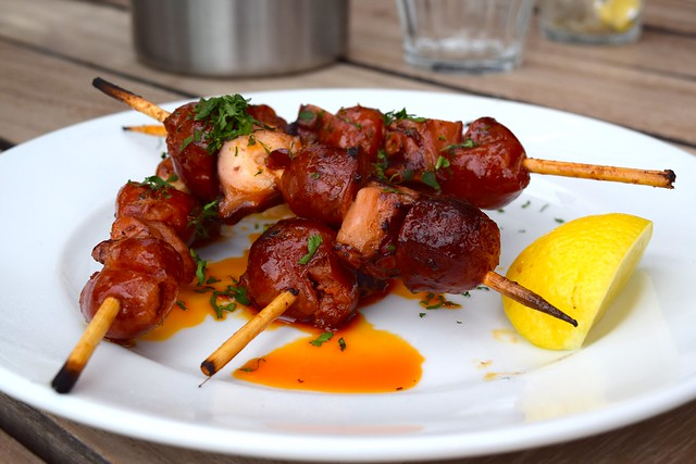 Chorizo & Octopus Skewers at The Boundary Rooftop, Shoreditch | www.rachelphipps.com @rachelphipps