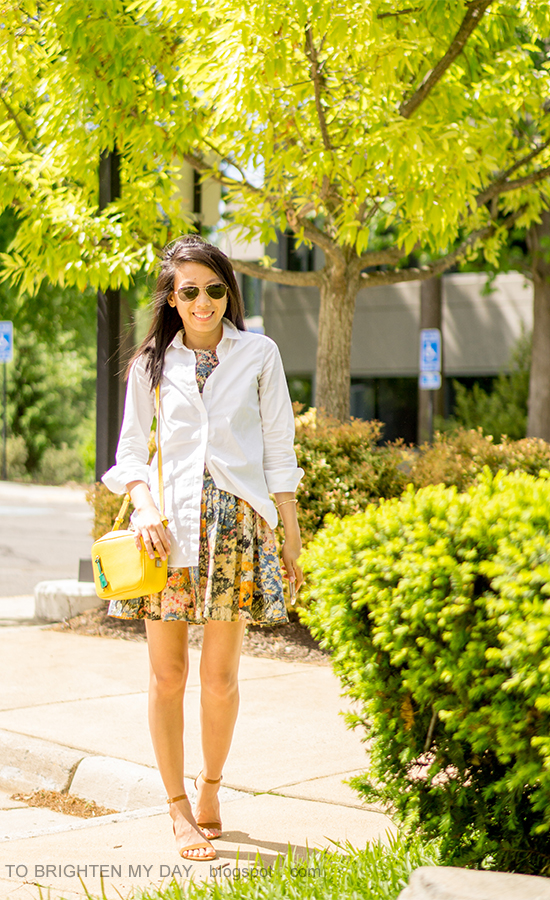 white button up dress shirt, yellow camera bag, floral cuff, wildflower printed dress, brown suede sandals
