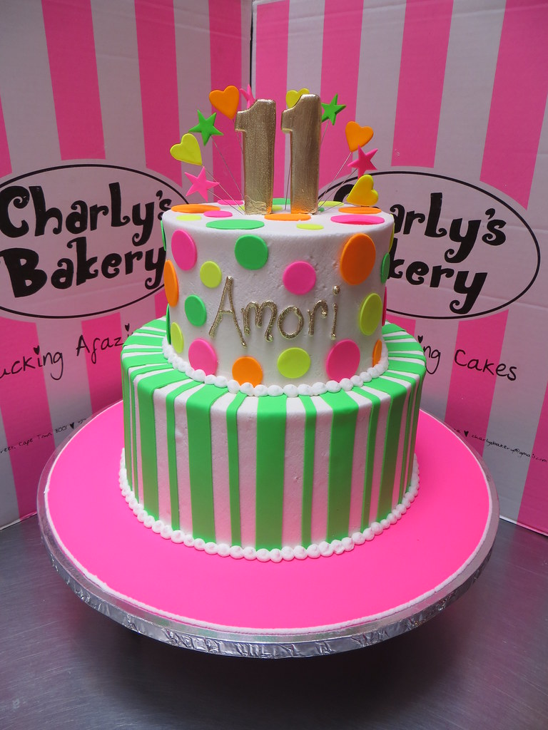 2 Tier Neon Themed 11th Birthday Cake With Polka Dots St Flickr