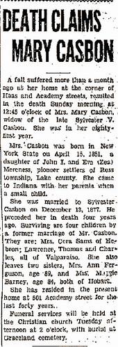 Mary Mereness Casbon death Vidette Messenger 1932