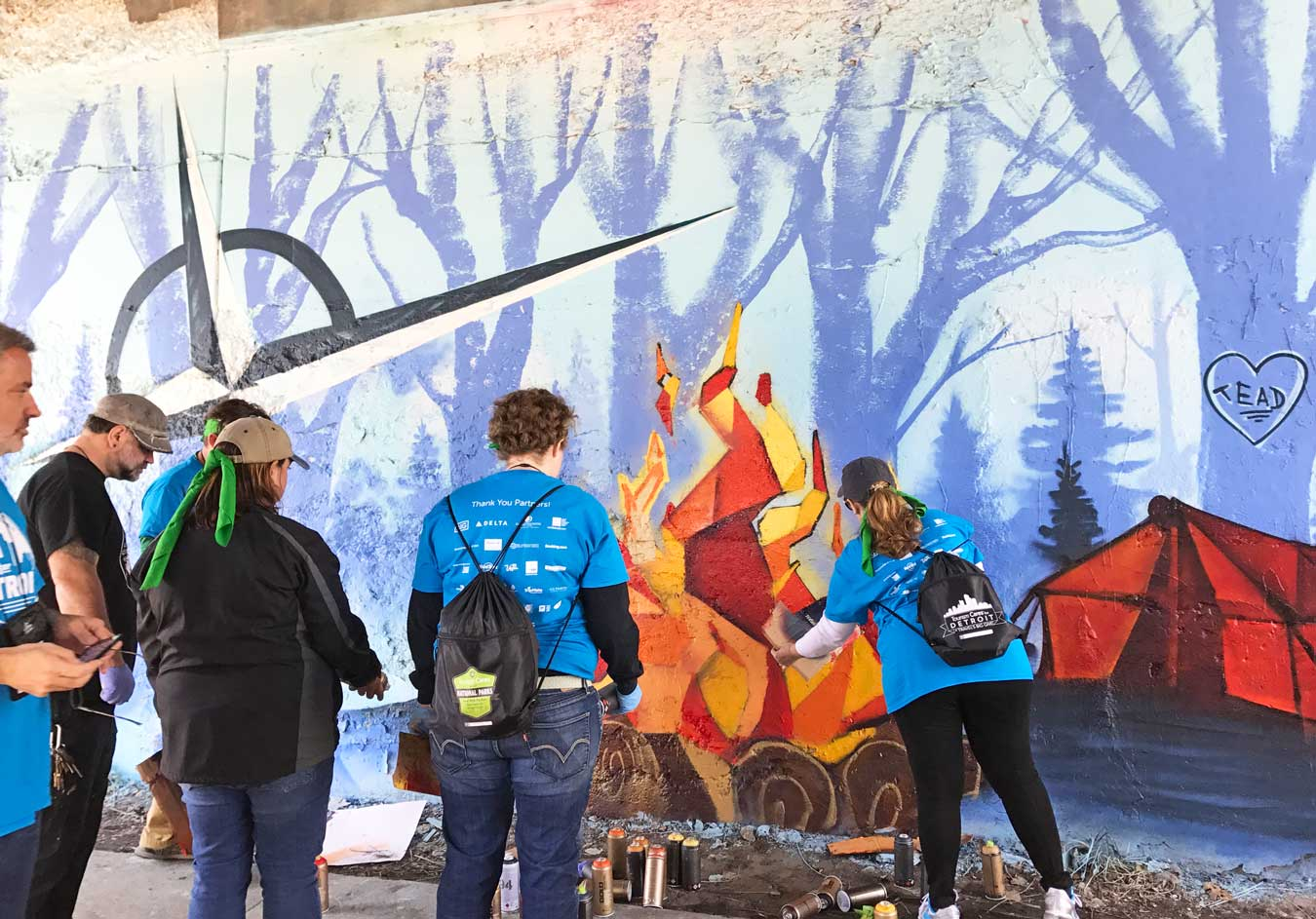 Tourism Cares For Detroit: Graffiti For A Cause (via Wading in Big Shoes) - Graffiti mural in Lincoln Art Park by Fel3000ft and a team of travel & tourism volunteers. Click through to learn more about the mural and revitalization efforts in Detroit!