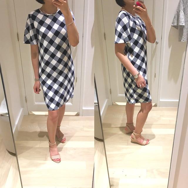 Ann Taylor Gingham Ruffle Sleeve Dress, size 0 regular
