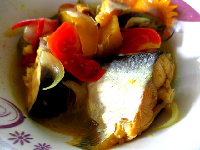 Anak Borneo ikan patin masak kunyit with terung Dayak