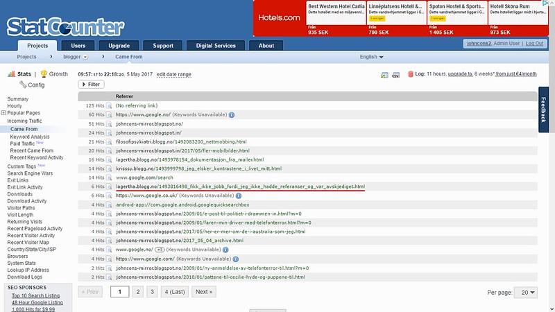 statcounter 6 mai og enda mer nettmobbing