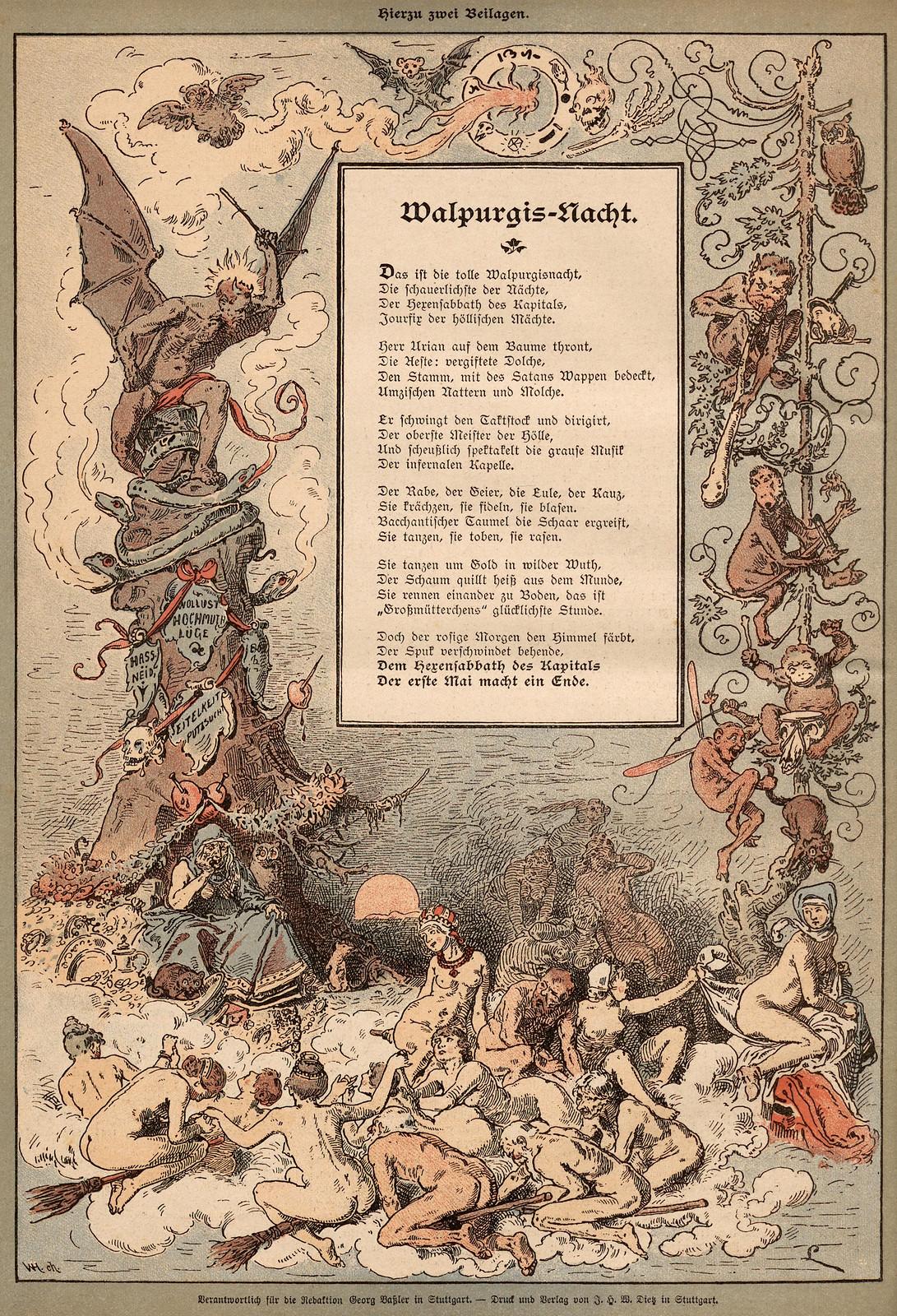 Monogramm L - Walpurgis Nacht, 1893