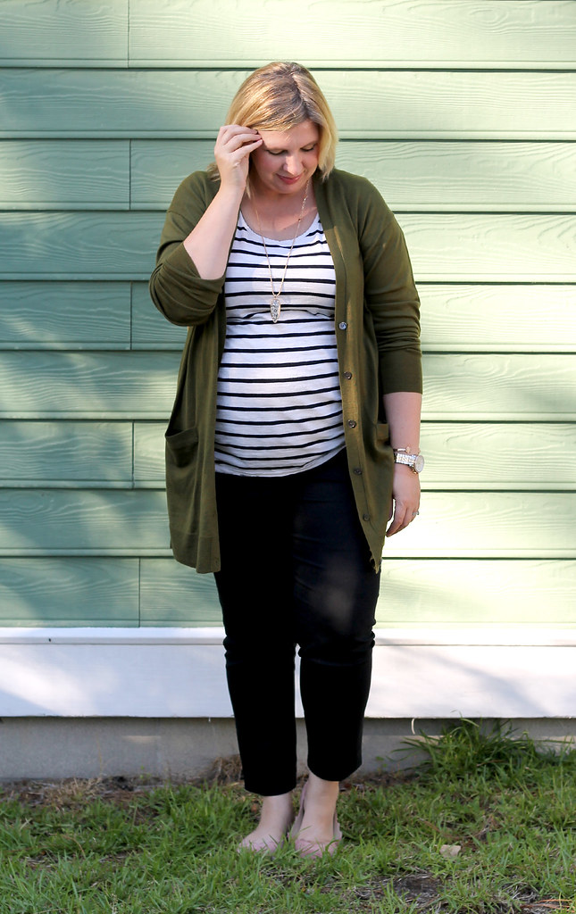 long olive cardigan, stripe tee, black pencil pants 5