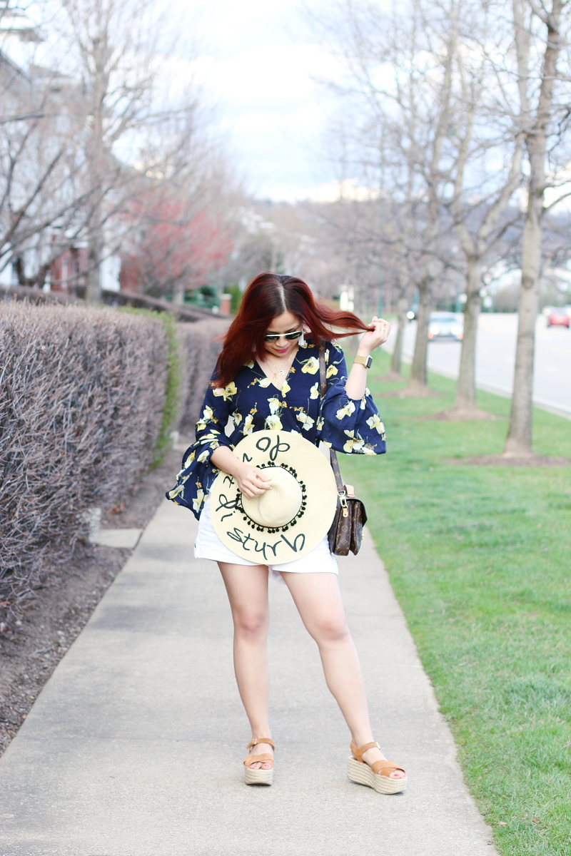 do-not-disturb-hat-floral-bell-sleeved-top-white-shorts-1