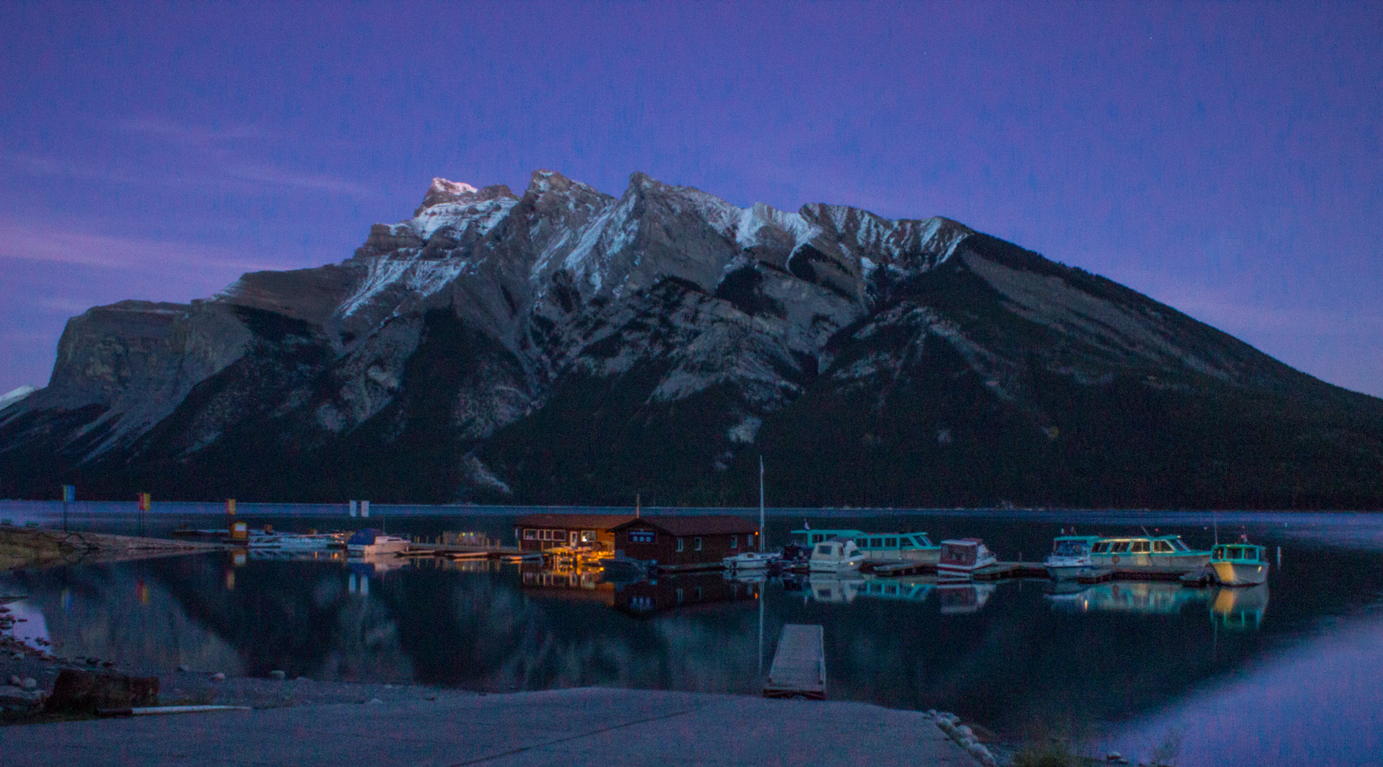 Lake Minnewanka and Mount Inglismaldie at night