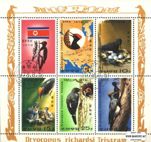 Známky Severná Kórea 1978 Vtáci - ďatle, razítkovaný hárok