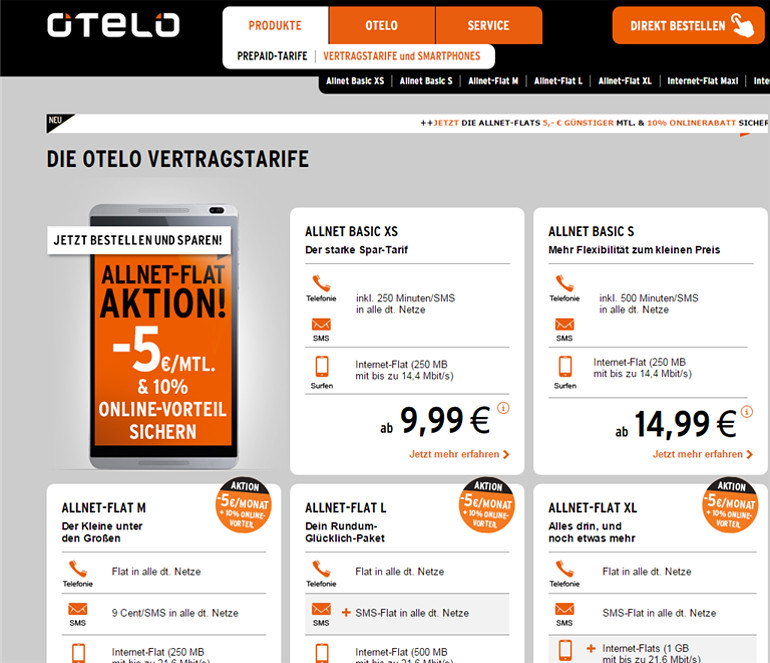 Screengrab of previous post-paid tariffs landing page from Otelo.de