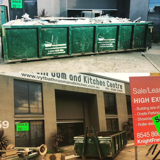Thanks to TICO #Australia for using our #big bins for their warehouse renovation in #mordialloc. Converting a former bathroom showroom into an export food showroom and headquarters. Utilising our larger #bin range from 10m3 to 31m3 👍♻️#nee