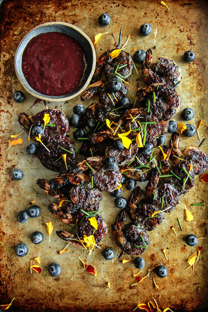 Blueberry Maple Mustard Grilled Shrimp from HeatherChristo.com