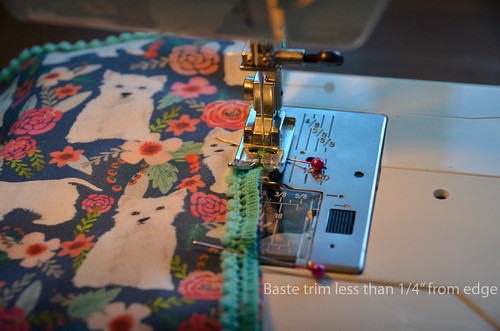 11. Baste trim to fabric, with seam allowance smaller than 1/4""