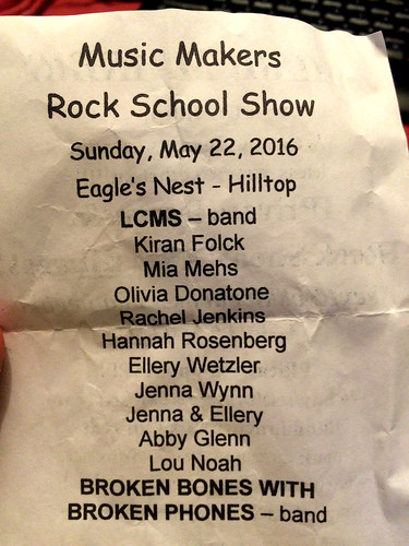 Rock School Show Line-up (May 22 2016)