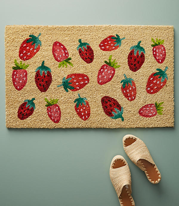 strawberry doormat anthropologie