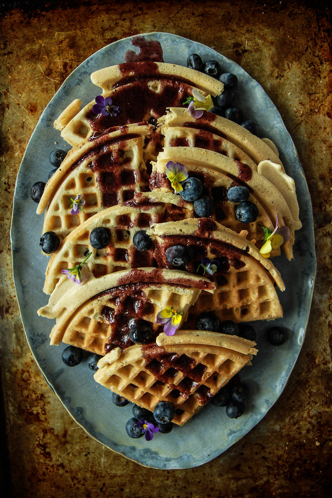 Gluten Free Vegan Blueberry Waffles with Blueberry Maple Sauce from HeatherChristo.com