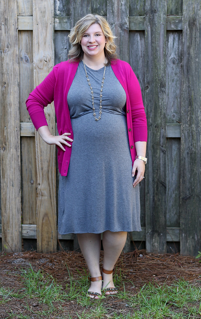 magenta cardigan, gray midi dress and sandals_6