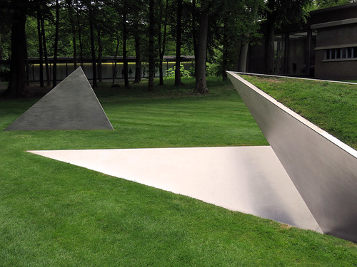 A modern geometric sculpture in Kroller Muller Sculpture Garden near Utrecht in Holland