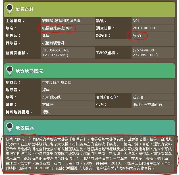 「台灣地景保育網」網頁