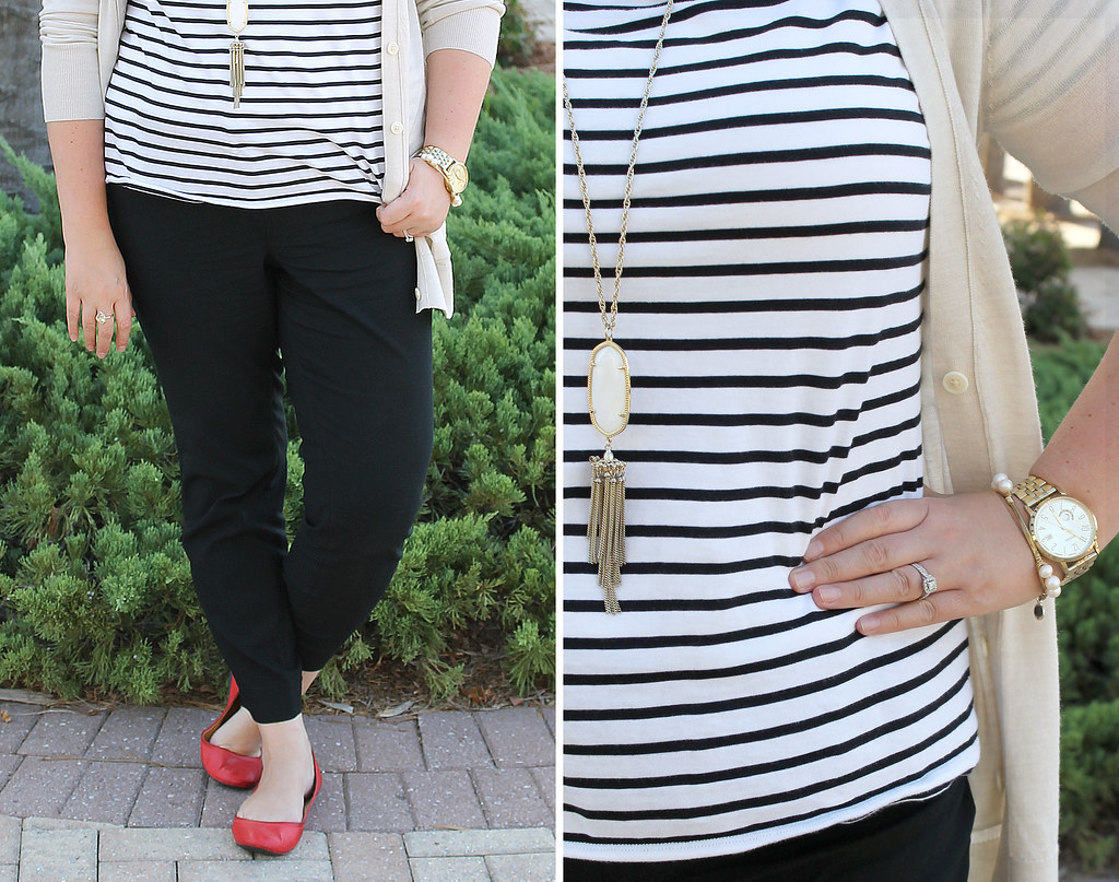 stripe tee, black pencil pants, red shoes 1