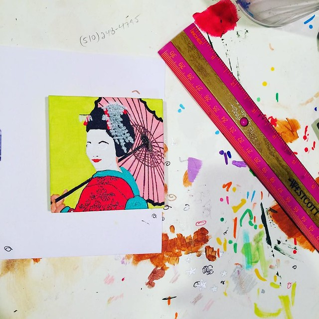 Mini Geisha painting in progress.