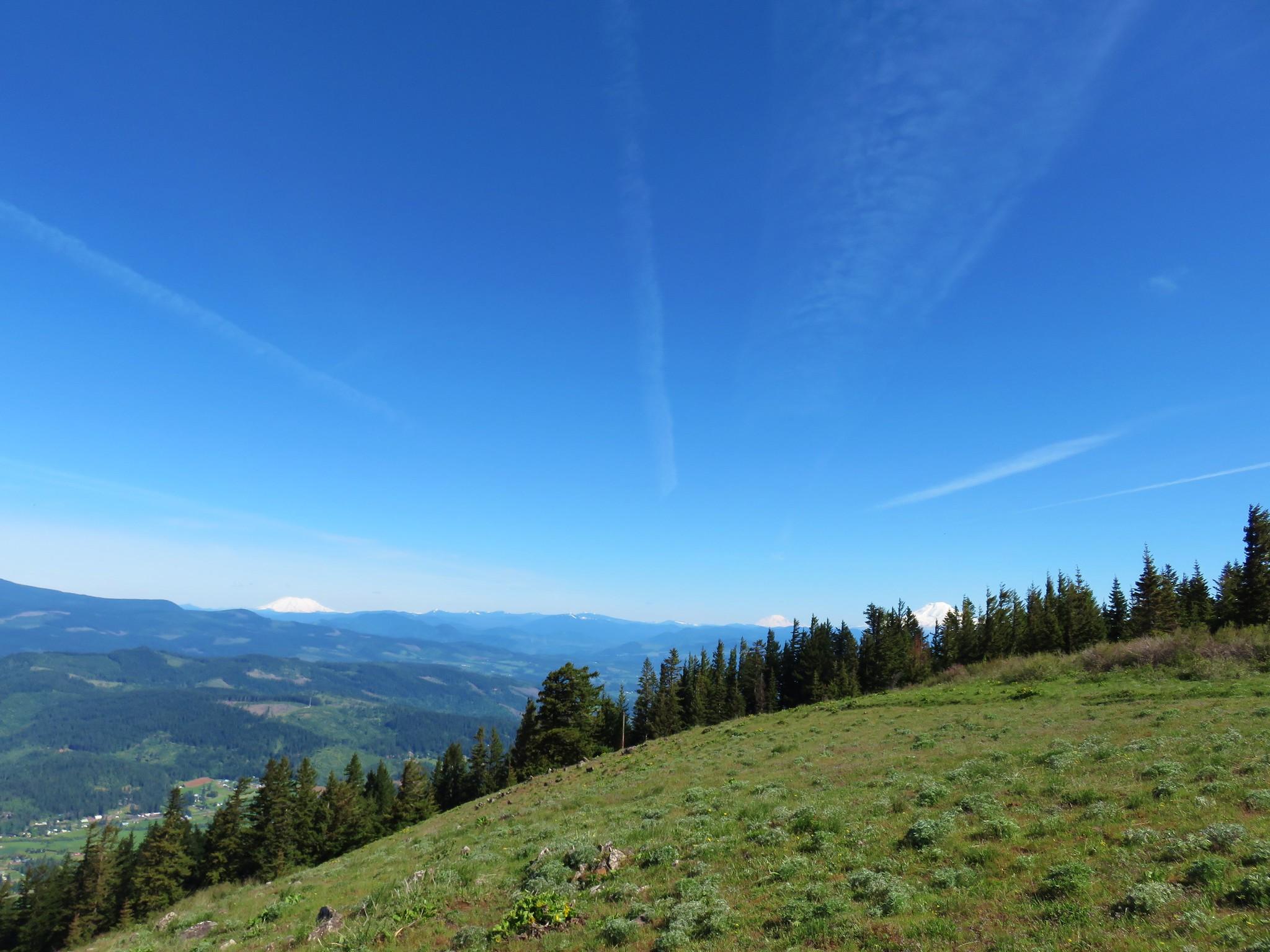 Mt. St. Helens, Mt. Rainier, and Mt. Adams