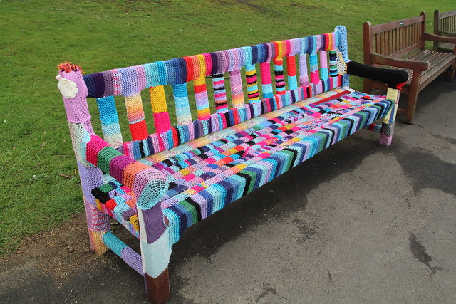 Yarnbombed bench