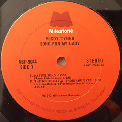 MCCOY TYNER:SONG FOR MY LADY(LABEL SIDE-A)