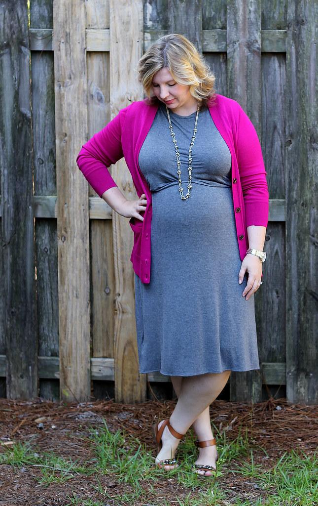 magenta cardigan, gray midi dress and sandals_2