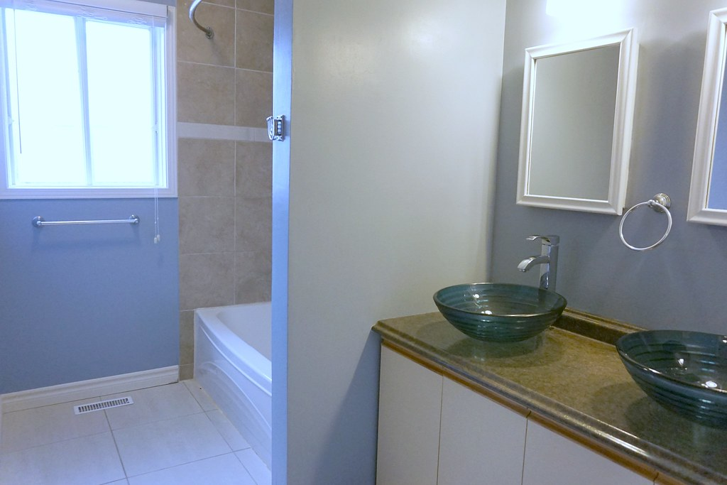 main bathroom before - vessel sinks