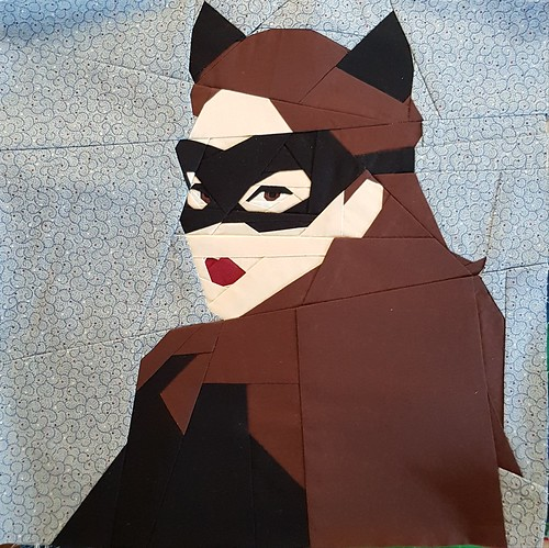 Paper pieced superhero CATWOMAN. Pattern tested for Michelle Thompson of fandominstitches.com Pieced by Hannah Hughes