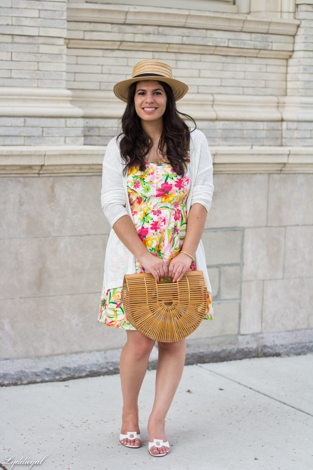 floral dress, white cardigan, straw hat, bamboo bag-3.jpg