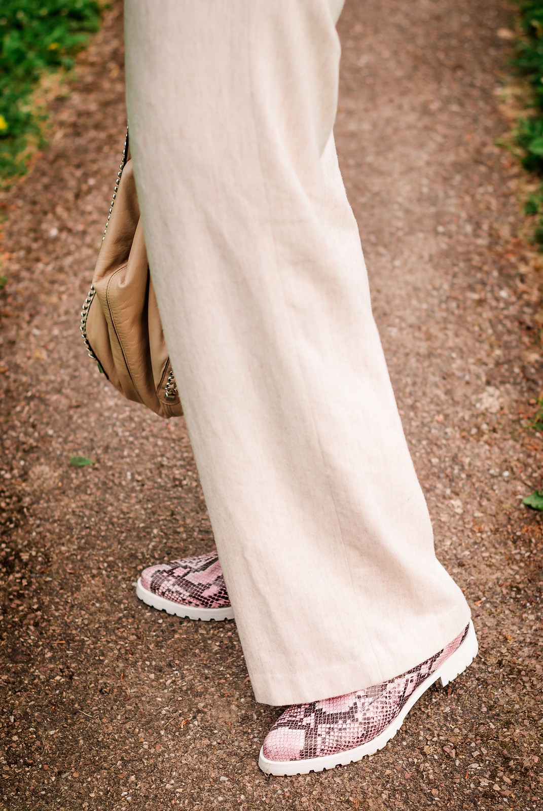 Loose, comfy summer style: Orange Breton stripe top  wide leg cream trousers  pink snakeskin shoes  rose gold aviators | Not Dressed As Lamb, over 40 style
