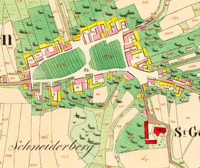 Blansko (CK), výřez mapy stabilního katastru, 1826 (ÚAZK)